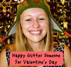 Seand a Valentine's Day happy glitter card