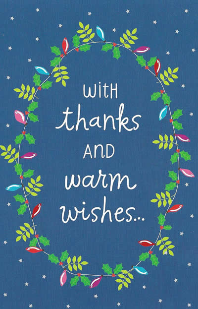 With thanks warm wishes personalized holiday thank you card with thanks and warm wishes custom holiday card m4hsunfo